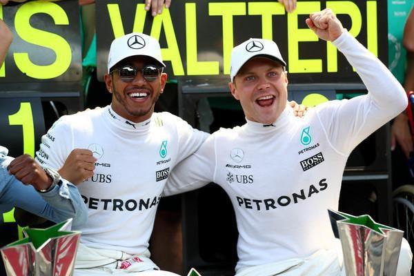 لوئیس همیلتون و والتری بوتاس - مسابقه گرندپری ایتالیا 2017