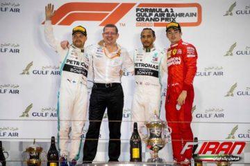چارلز لکلرک، لوئیس همیلتون و والتری بوتاس - بحرین 2019