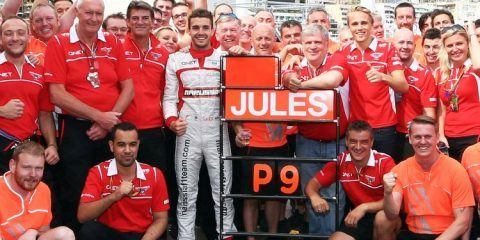 Jules Bianchi (FRA) and the Marussia F1 Team celebrate his and the team's first ever F1 points with his ninth place finish. 25.05.2014. Formula 1 World Championship, Rd 6, Monaco Grand Prix, Monte Carlo, Monaco, Race Day.