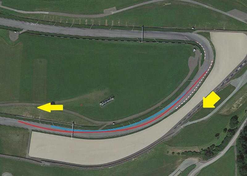 تصویر فوق پیچ شماره ی چهار را نشان می دهد که در آن مسیر آبی ریسینگ لاین استاندارد این پیچ و مسیر قرمز ریسینگ لاین مورد استفاده رانندگان است.تصویر فوق پیچ شماره ی چهار را نشان می دهد که در آن مسیر آبی ریسینگ لاین استاندارد این پیچ و مسیر قرمز ریسینگ لاین مورد استفاده رانندگان است.