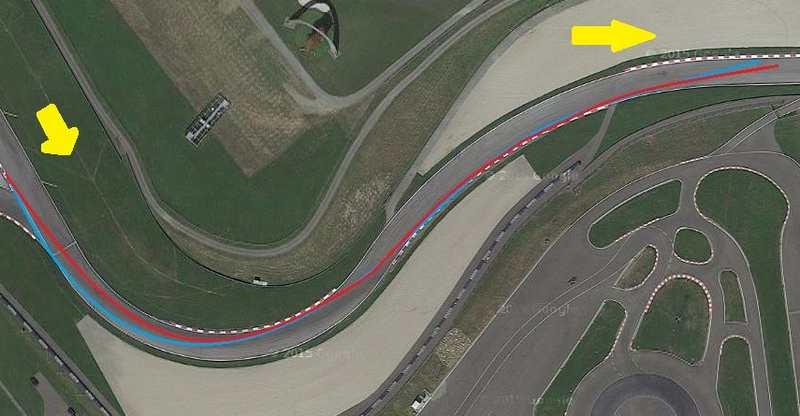 تصویر فوق پیچ های شماره ی 6 و 7 را نشان می دهد که در آن مسیر آبی ریسینگ لاین ایده آل و مسیر قرمز ریسینگ لاین مورد استفاده ی رانندگان است.