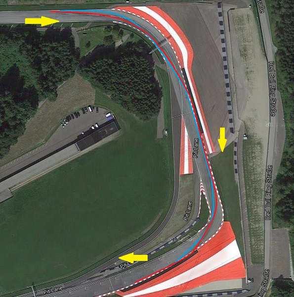 تصویر فوق پیچ شماره ی 8 و 9 را نشان می دهد که در آن مسیر آبی ریسینگ لاین استاندارد برای هر یک از این دو پیچ است و مسیر قرمز ریسینگ لاینی است که رانندگان به علت تاثیر ریسینگ لاین پیچ ها بر روی یکدیگر استفاده میکنند.
