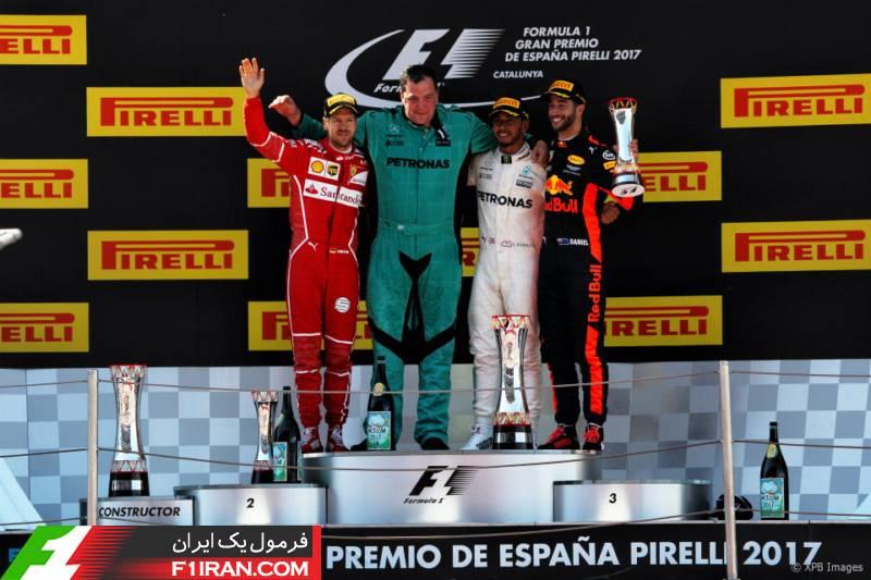 سکو فرمول یک اسپانیا 2017 - دنیل ریکاردو ، لوئیس همیلتون و سباستین فتل