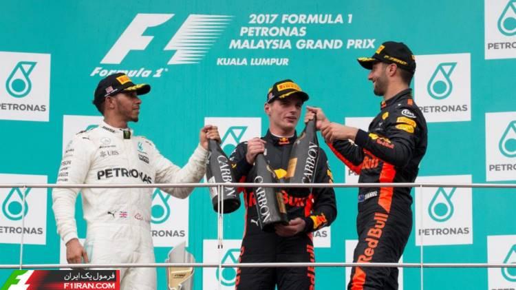 دنیل ریکاردو، مکس ورشپتن و لوییس همیلتون - مسابقه گرندپری مالزی 2017