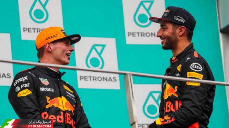 دنیل ریکاردو و مکس ورشپتن - مسابقه گرندپری مالزی 2017
