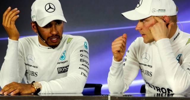 همیلتون و بوتاس در مصاحبه مطبوعاتی بعد از مسابقه - ابوظبی 2017