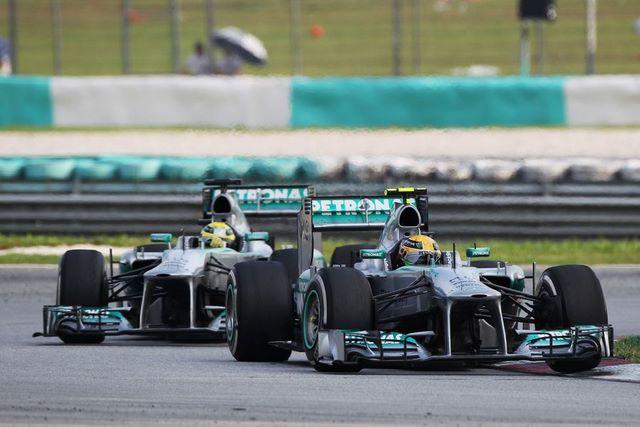 Lewis Hamilton and Nico Rosberg 2013 Malaysian GP