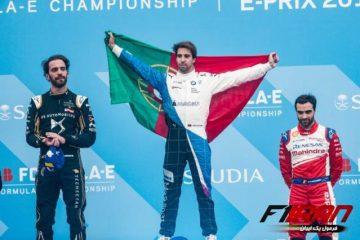 سکو مسابقه فرمول E عربستان 2018 - دی آمبروزیو ، آنتونیوفلیکس دا کاستا و ژان اریک ورن