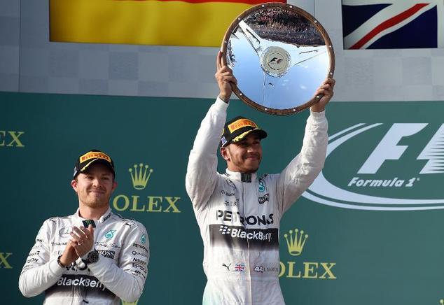 Lewis Hamilton held off team-mate Nico Rosber