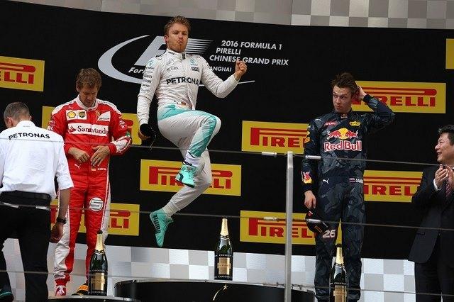 Rosberg jumps on the 2016 Chinese Grand Prix podium