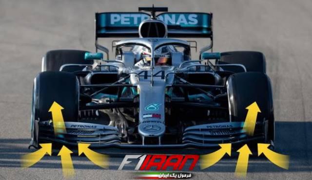 نحوه هدایت جریان هوا روی بال جلوی خودروی فصل 2019 تیم مرسدس