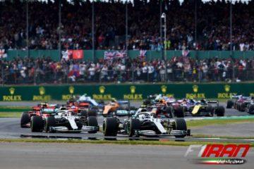 والتری بوتاس، لوئیس همیلتون، چارلز لکلرک و مکس ورشتپن - استارت مسابقه بریتانیا 2019