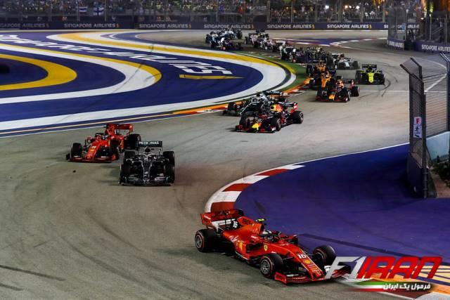 چارلز لکلرک، لوئیس همیلتون، سباستین فتل و مکس ورشتپن - استارت مسابقه سنگاپور 2019
