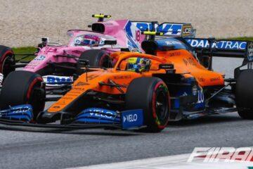 لندو نوریس و لنس استرول در ماشین تیم فرمول یک مکلارن و ریسینگ پوینت در فرمول یک اتریش 2020