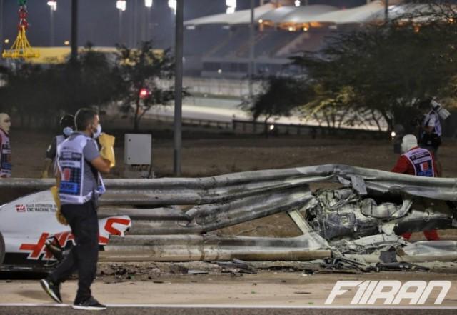 دو تکه شدن ماشین رومن گروژان پس از برخوردش با دیواره پیست در فرمول یک بحرین 2020