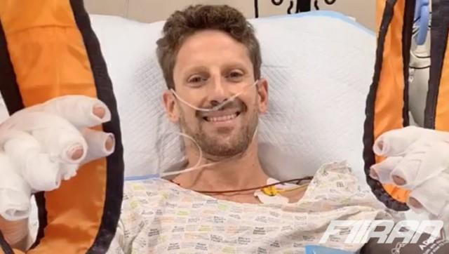 رومن گروژان در بیمارستان پس از تصادفش در فرمول یک بحرین 2020