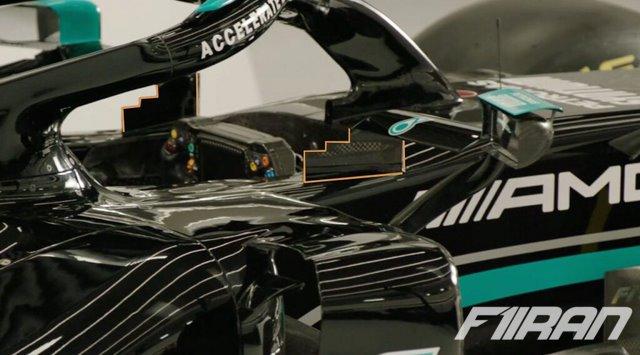 مرسدس W12 - طراحی جدید پایه های آینه متصل به شاسی